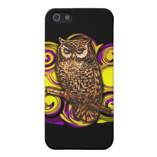 Owl with Purple and Gold Swirls Case For The iPhone 5