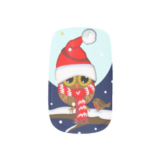 Owl with Santa hat & red Scarf in a snowy world Nails Sticker