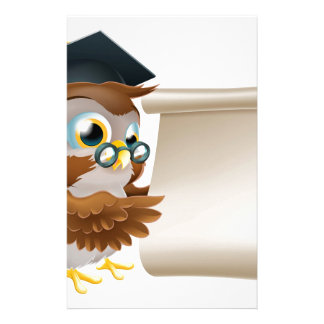Owl With Scroll Document Personalized Stationery