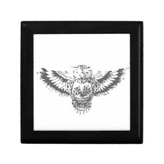 Owl With Sugar Skull Small Square Gift Box