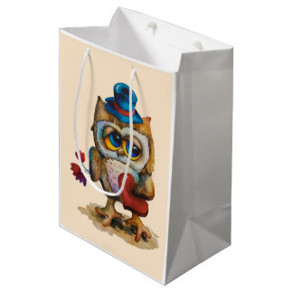 Owl with the heart Custom Gift Bag Beige