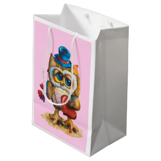 Owl with the heart Custom Gift Bag Pink.