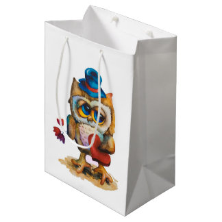 Owl with the heart Custom Gift Bag White