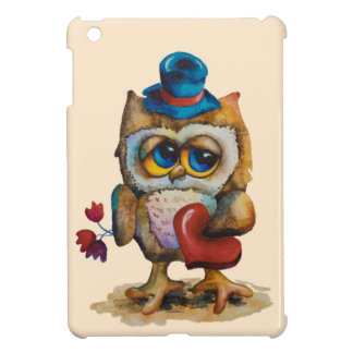 Owl with the heart iPad Mini Case Beige