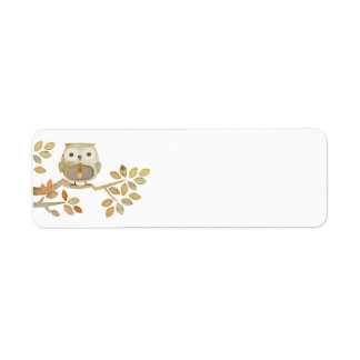 Owl with Tie in Tree Label Return Address Label