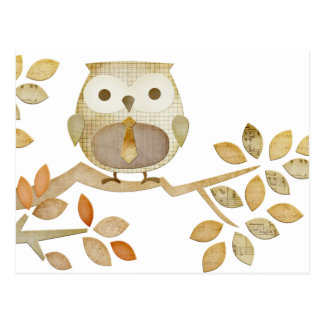 Owl with Tie in Tree Postcard