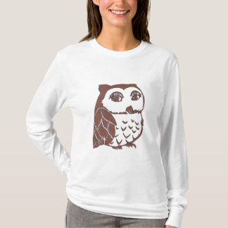 Owl Women's Hanes Nano Long Sleeve T-Shirt, White T-Shirt