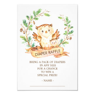 Owl Woodland Baby Shower Diaper Raffle Ticket Card