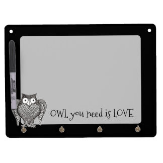 Owl you Need Dry Erase Board With Key Ring Holder