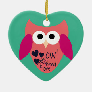 Owl you need is love ceramic heart decoration