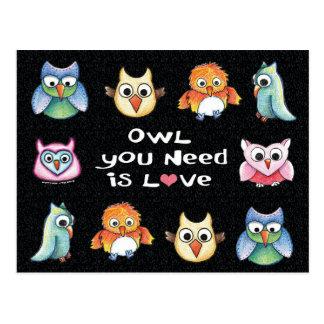 """Owl You Need is Love"" Owl Postcard #1"