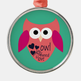 Owl you need is love Silver-Colored round decoration