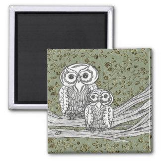 Owls 10 square magnet