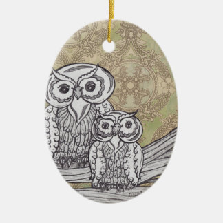 Owls 32 ceramic oval decoration