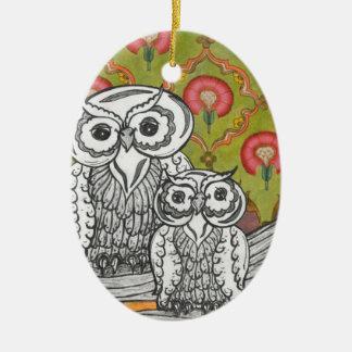 Owls 4 ceramic oval decoration