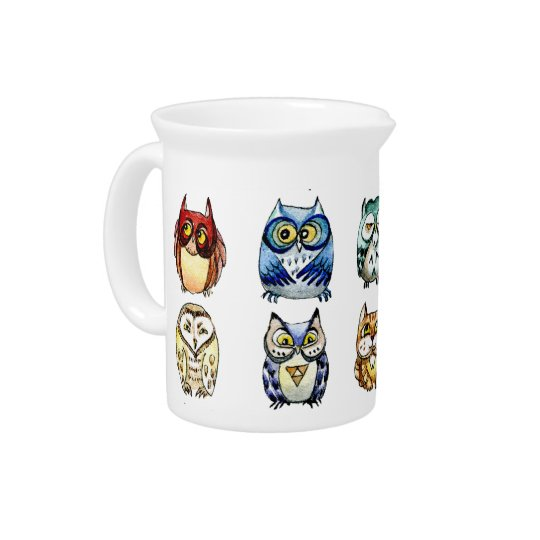 Owls and Cat Drink Pitchers