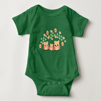 owls and flowers baby bodysuit