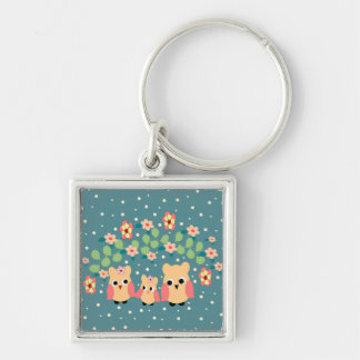 owls and flowers key ring