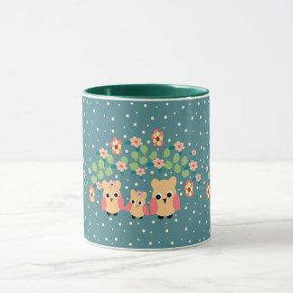owls and flowers mug