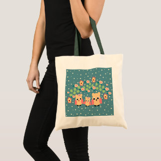 owls and flowers tote bag