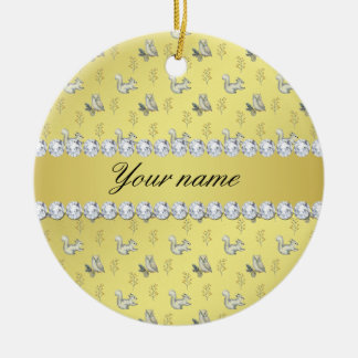 Owls and Squirrels Faux Gold Foil Bling Diamonds Ceramic Ornament
