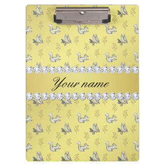 Owls and Squirrels Faux Gold Foil Bling Diamonds Clipboard