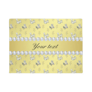 Owls and Squirrels Faux Gold Foil Bling Diamonds Doormat