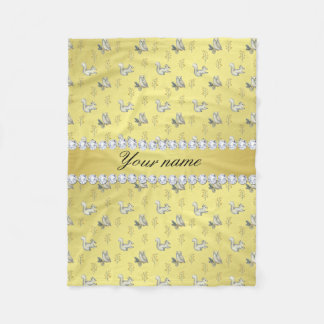 Owls and Squirrels Faux Gold Foil Bling Diamonds Fleece Blanket