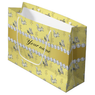 Owls and Squirrels Faux Gold Foil Bling Diamonds Large Gift Bag