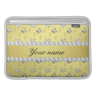 Owls and Squirrels Faux Gold Foil Bling Diamonds MacBook Sleeve