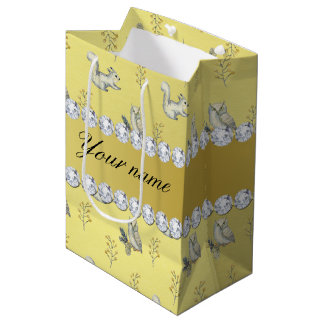 Owls and Squirrels Faux Gold Foil Bling Diamonds Medium Gift Bag
