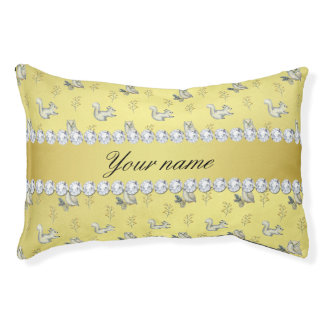 Owls and Squirrels Faux Gold Foil Bling Diamonds Pet Bed