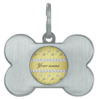 Owls and Squirrels Faux Gold Foil Bling Diamonds Pet Tag