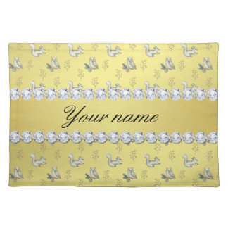 Owls and Squirrels Faux Gold Foil Bling Diamonds Placemat