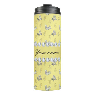 Owls and Squirrels Faux Gold Foil Bling Diamonds Thermal Tumbler