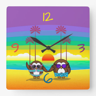 owls are back to vacations! square wall clock