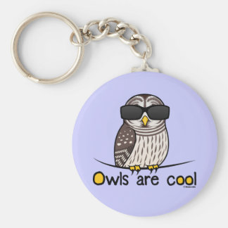 Owls are cool! basic round button key ring