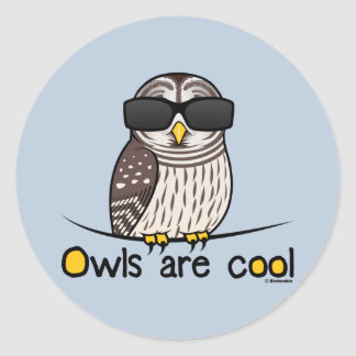 Owls are cool round stickers