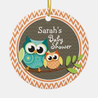 Owls Baby Shower Orange and White Chevron Ornament
