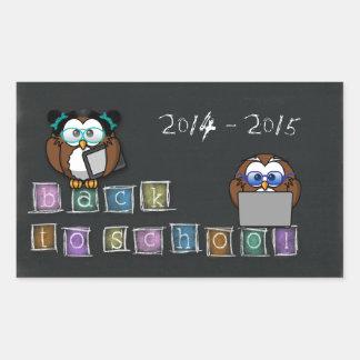 owl's back to school rectangular sticker