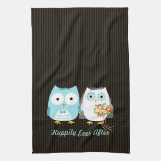 Owls Bride and Groom - Happily Ever After Tea Towel