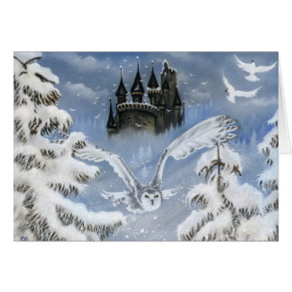 Owls castle winter fairytale greeting card