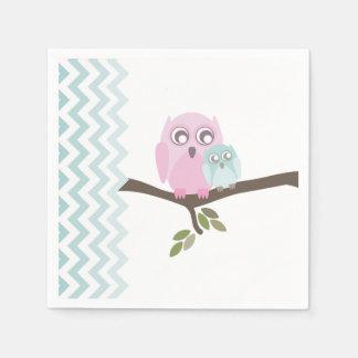 Owls + Chevron Boy Baby Shower Napkins Paper Serviettes