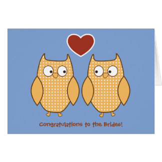 Owls Gay Wedding Card for Lesbian Brides