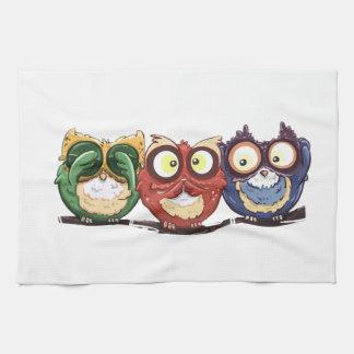 Owls Hoot See Speak Hear No Evil Tea Towel