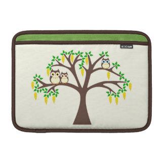 Owls in a Flowery Laburnum Tree Mac Book Sleeve