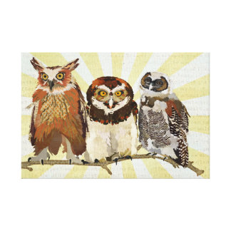 OWLS IN A ROW Canvas Gallery Wrapped Canvas