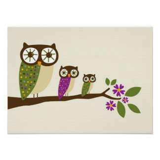 owls in a row canvas poster