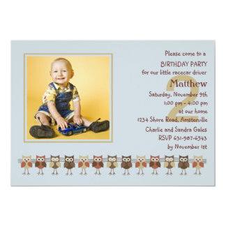 Owls in a Row Photo Birthday Party  Invitation