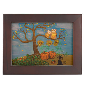 Owls In A Tree, Sunflowers, Pumpkins & Black Cat Keepsake Box